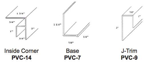 Corrugated PVC Panel Accessories - Inside Corner PVC-14, Base PVC-7, J-Trim PVC-9